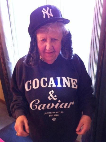 gangsta,baseball cap,old lady