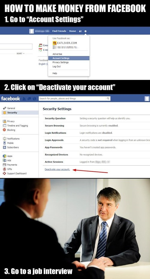 profit facebook account settings job interview
