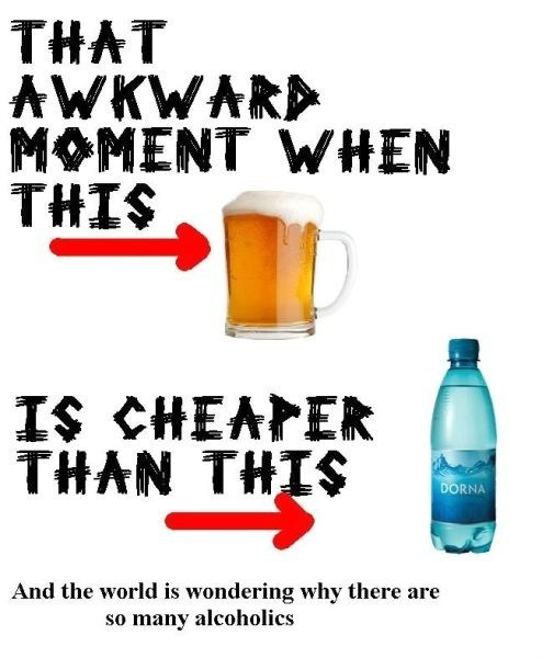 beer,alcoholics,water,Awkward Moment,cheap