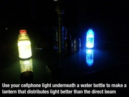 cellphone light,water bottle,flashlights,life hacks