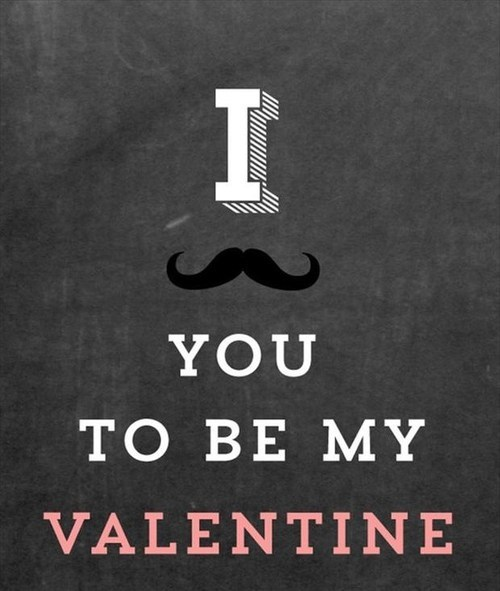 be mine cards mustaches Valentines day