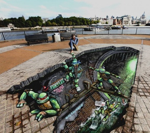 Street Art,art,TMNT,perspective,illusion