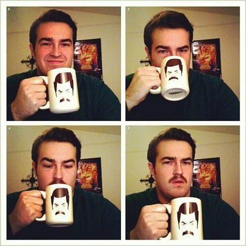 mustache ron swanson office swag mugs