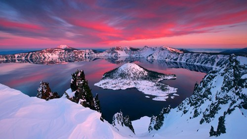 snow,crater lake,winter,lake,sunset,destination WIN!,crater lake,g rated