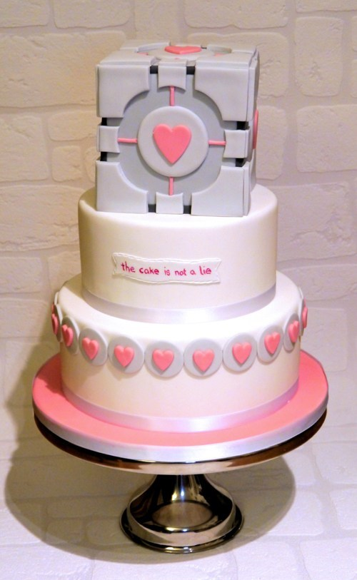 the cake is a lie,cake,companion cube,hearts,Portal