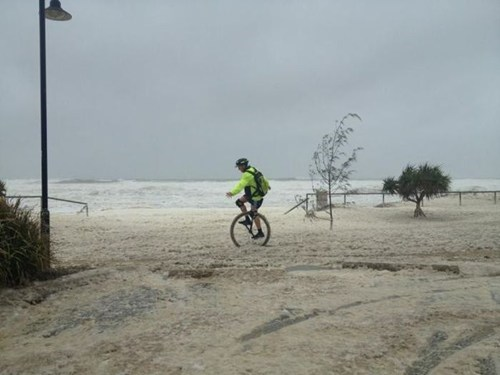 storm,unicycle,beach,bad timing