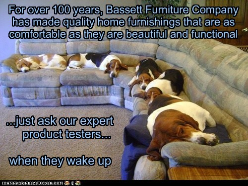 For over 100 years, Bassett Furniture Company has made quality home furnishings that are as comfortable as they are beautiful and functional ...just ask our expert product testers... when they wake up
