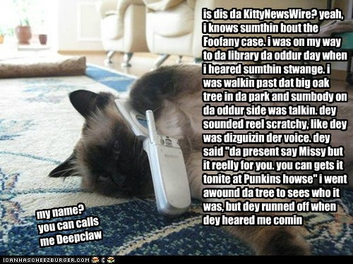 """is dis da KittyNewsWire? yeah, i knows sumthin bout the Foofany case. i was on my way to da library da oddur day when i heared sumthin stwange. i was walkin past dat big oak tree in da park and sumbody on da oddur side was talkin. dey sounded reel scratchy, like dey was dizguizin der voice. dey said """"da present say Missy but it reelly for you. you can gets it tonite at Punkins howse"""" i went awound da tree to sees who it was, but dey runned off when dey heared me comin my name? you can calls me D"""
