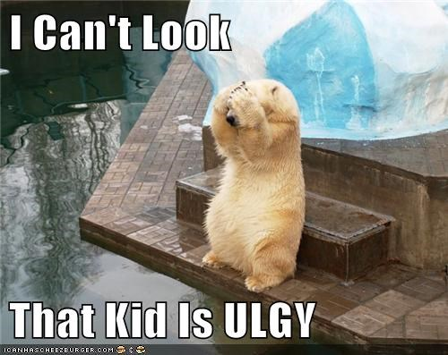 kids,zoo,polar bears,cover your eyes,ugly