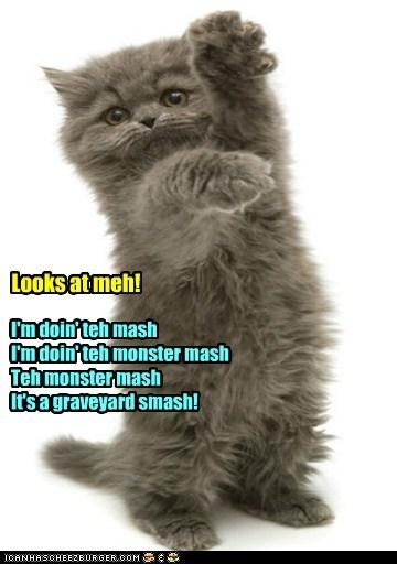 I'm doin' teh mash I'm doin' teh monster mash Teh monster mash It's a graveyard smash! Looks at meh!