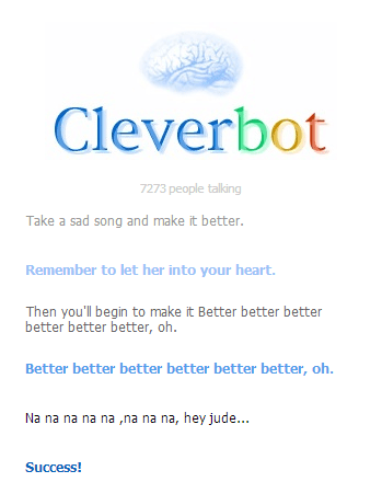 the Beatles,song lyrics,hey jude,Cleverbot