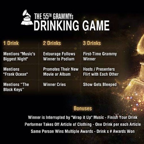 alcohol booze drinking game Grammys