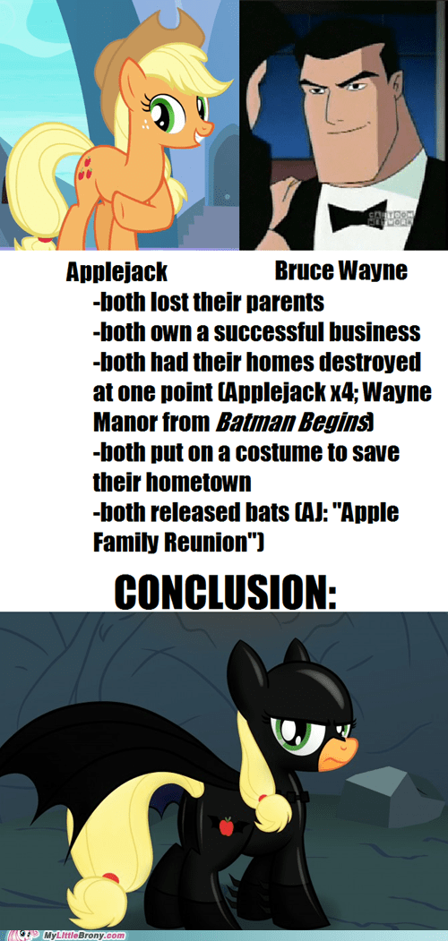 applejack,similarities,batman,bruce wayne