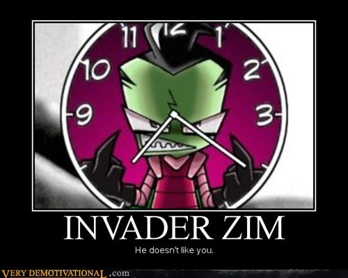 Invader Zim middle finger angry clock