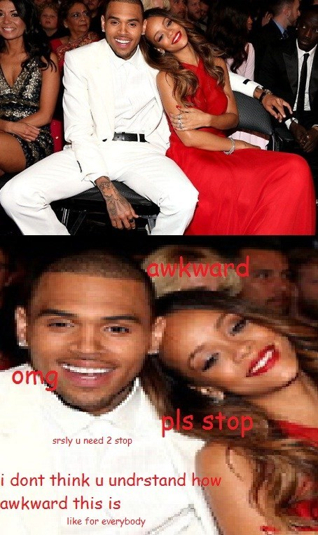 Awkward chris brown Grammys rihanna - 7053845760