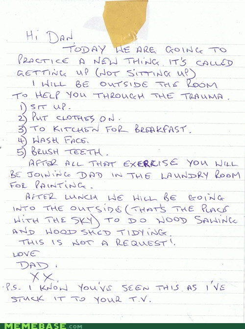 note from dad,chores,laziness