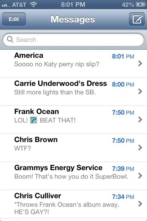 frank ocean,Grammys,iPhones,chris culliver