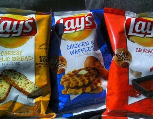 Lays,garlic bread,sriracha,chicken and waffle,monday thru friday,g rated