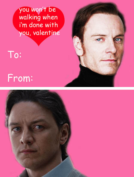 actor,card,james mcavoy,funny,michael fassbender,xmen,valentines