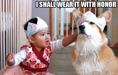 baby,child,dogs,corgi,friends,hat,interspecies,kid,honor