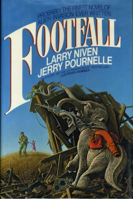 book covers,cover art,elephants,trunk,mirrors,science fiction,wtf,footfall
