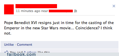star wars,coincidence,pope benedict,failbook,g rated