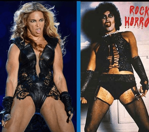 Rocky Horror Picture Show,beyoncé,frank furter,poorly dressed