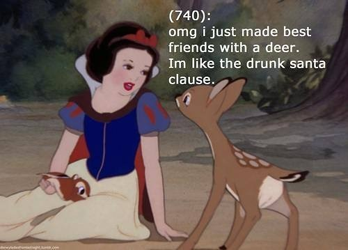 snow white,drunk santa,deer,santa,elves