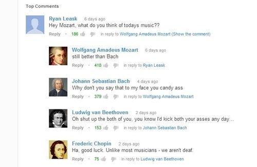 Beethoven,Chopin,youtube comments,mozart,Bach,classical music