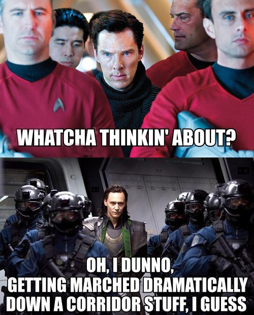 benedict cumberbatch,marched,loki,tom hiddleston,The Avengers,whatcha thinkin about,Star Trek,corridors,star trek into darkness