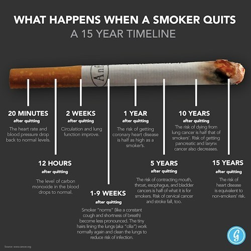 timeline cigarettes health smoker