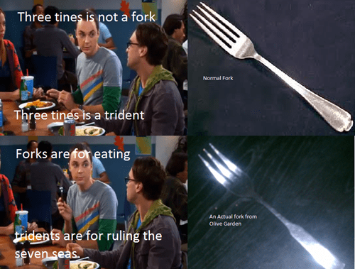 big bang theory,olive garden,forks