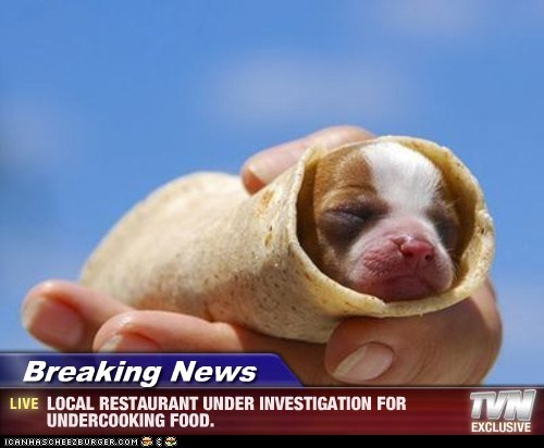 Breaking News - LOCAL RESTAURANT UNDER INVESTIGATION FOR UNDERCOOKING FOOD.