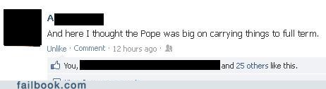 sex,pope,pregnant,pope benedict,failbook