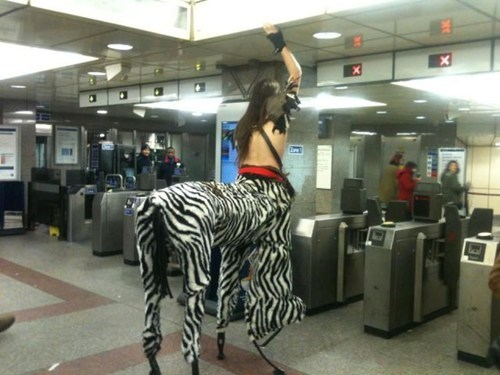 centaurs,costume,Subway,poorly dressed,g rated