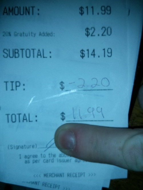negative tips restaurants receipts - 7058776832