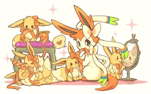 Pokémon,eeveelutions,Fan Art,ninfia