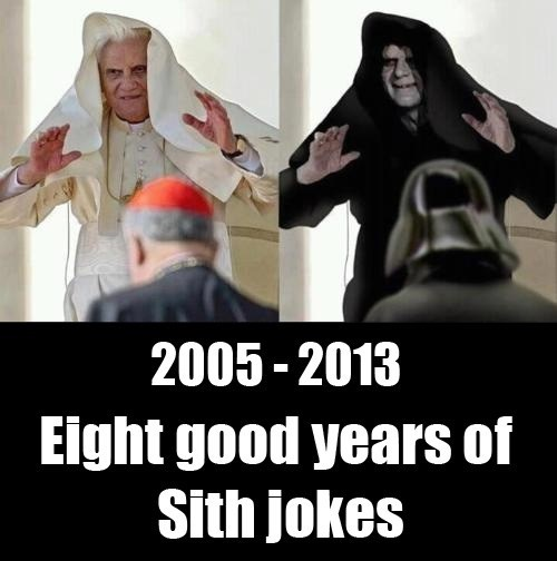 over,star wars,jokes,Pope Benedict XVI,resigning,Ian McDiarmid,sith,Emperor Palpatine