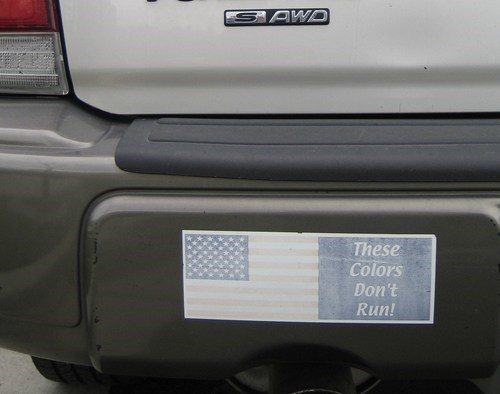 bumper sticker merica cars irony flag