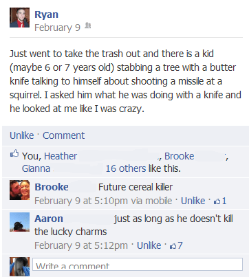 grammar nazi,serial killer,facebook,cereal