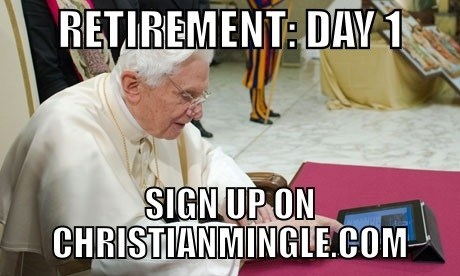 pope,christian mingle,retirement