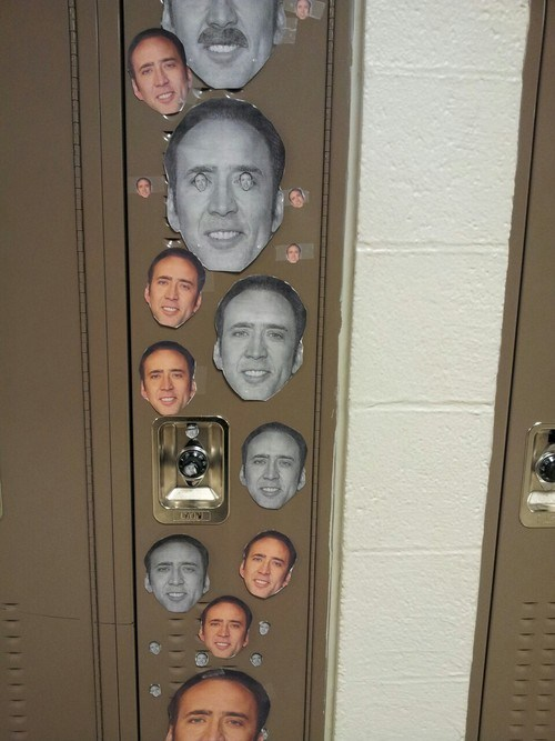 school,locker,nick cage