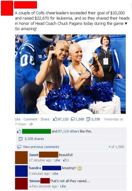 facebook,raising the barm,cheerleaders