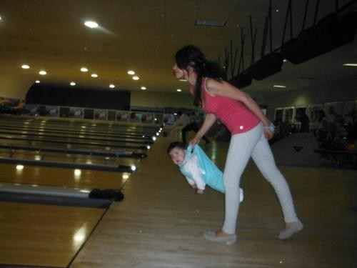 Babies,moms,bowling