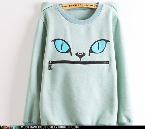 cat face sweatshirt mouth zipper - 7061987584