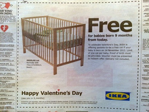 Babies,ikea,Valentines day,monday thru friday,g rated
