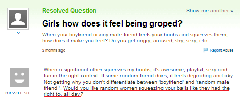 how does it feel groped yahoo answers women - 7062091264