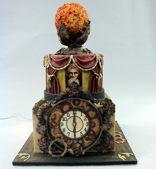 cake,Steampunk,fondant,clock