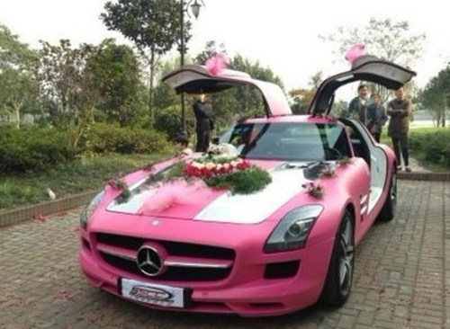 mercedes,car,pink,wedding