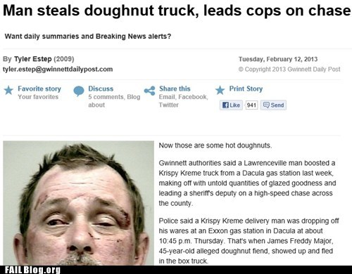 Breaking news: cops in persuit of donuts